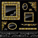Set of golden frames and design elements stock illustration