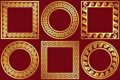 Set golden frames with Greek Meander pattern Stock Image