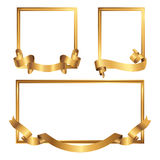 Set of golden frames with ribbons. Collection of gold borders. Vector illustration Stock Image