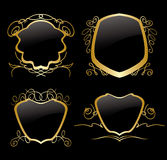 Set of golden vector frames on vintage decorations Stock Photo