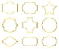 Set of golden frames on white - vector Royalty Free Stock Photo
