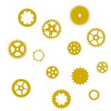 Set of golden gears with shadow on a white background, isolated, vector Royalty Free Stock Photos