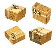 Set of golden gift box Royalty Free Stock Photo