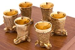 Set of golden glasses Royalty Free Stock Image