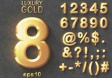 Set of golden glitter 3D Numbers and Characters. Set of shiny golden luxury 3D Numbers and Characters. Golden metallic glitter bold symbols on gray background Vector Illustration