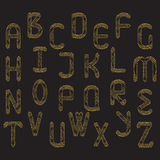 set of golden glitter letters Royalty Free Stock Photo