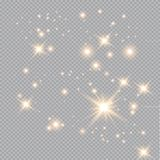 Set of golden glowing lights effects isolated on transparent background. Glow light effect. Star burst with sparkles stock illustration
