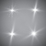 Set of golden glowing lights effects isolated on transparent background. Sun flash with rays and spotlight. Glow light effect. Sta. R burst with sparkles Royalty Free Stock Photography