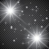 Set of golden glowing lights effects isolated on transparent background. Sun flash with rays and spotlight. Glow light effect. Sta. R burst with sparkles Stock Images