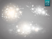 Set of golden glowing lights effects isolated on transparent background. royalty free illustration