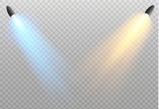 Set of golden glowing lights effects isolated on transparent background. Sun flash with rays and spotlight. Glow light. Effect. Star burst with sparkles royalty free illustration