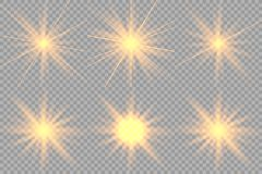 Set of golden glowing lights royalty free illustration