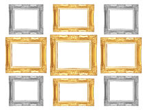 Set of golden and gray vintage frame isolated on white backgroun. D Stock Image