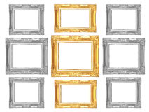 Set of golden and gray vintage frame isolated on white backgroun. D Stock Photos