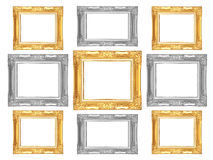 Set of golden and gray vintage frame isolated on white backgroun. D Royalty Free Stock Photos