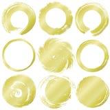 Set of golden grunge circles. Royalty Free Stock Photography