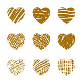 Set of Golden hearts. Vector Illustration for valentine's day. Royalty Free Stock Photos