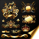 Set of golden heraldic elements Royalty Free Stock Images