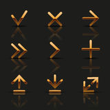 Set of golden icons Royalty Free Stock Image