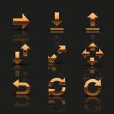Set of golden icons. Vector illustration Stock Photo