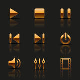 Set of golden icons Stock Image