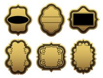 Set of golden labels Stock Image