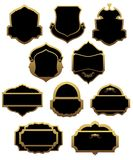 Set of golden labels and frames Stock Image