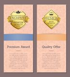 Set of Golden Labels with Text Vector Illustration. Set of golden labels pictures and text sample below each image with its title and colorful top vector Royalty Free Stock Photo