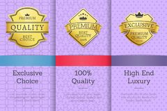 Set Golden Labels on Posters Text Sample Exclusive. Set golden labels on posters with text sample. Exclusive choice 100 quality high end luxury product stock illustration