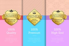 Set of Golden Labels with Text Vector Illustration. Set of golden labels consisting of shield and ribbon and title with text below icons vector illustration  on Royalty Free Stock Images