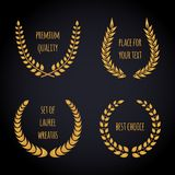 Set of golden laurel wreath on dark background. Royalty Free Stock Photography