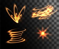 Set of golden light effects glowing light rings with particles decoration isolated on the transparent background website pa. Ge and mobile app design royalty free illustration