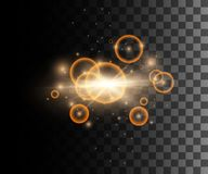 Set of golden light effects glowing light rings with particles decoration isolated on the transparent background website pa. Ge and mobile app design Stock Illustration
