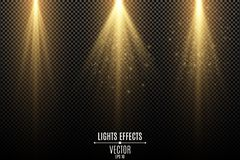 Set of golden lights effects isolated on a dark transparent background. Golden rays with flying magical dust. Lamp beams. Neon. Glowing. Vector illustration stock illustration