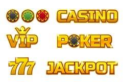 Vector set golden logo JACKPOT, POKER, 777, CASINO and VIP. Gold play chips. Set golden logo JACKPOT, POKER, 777, CASINO and VIP. Gold play chips royalty free illustration