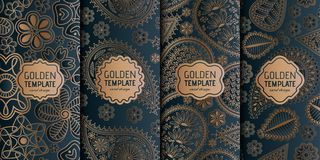 Set of golden luxury templates. Abstract geometric background with paisley and flowers. Vector illustration vector illustration