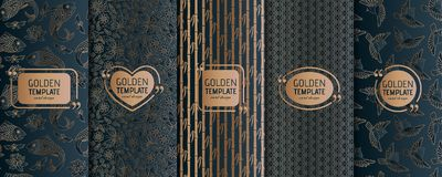 Set of golden luxury templates. Abstract geometric background Stock Images