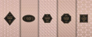 Set of golden luxury templates. Abstract geometric background Stock Photography