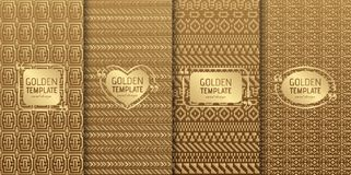 Set of golden luxury templates. Abstract geometric background Stock Image