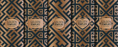 Set of golden luxury templates. Abstract geometric background Royalty Free Stock Images