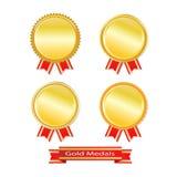 Set of golden medals  Stock Images
