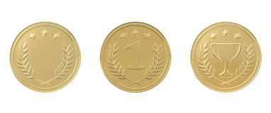 Set of 3 golden medals. With stars, trophy, 1st place and blank. Sports award, product ranking, best price, first place concept. Graphic design elements Royalty Free Stock Photo