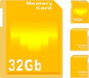 Set of golden memory card isolated Royalty Free Stock Photo