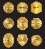 Set of golden  metal design elements on black background. Royalty Free Stock Image
