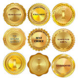 Set of golden metal design elements on white background. Stock Photo