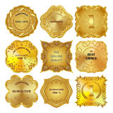 Set of golden metal design elements on white background. Royalty Free Stock Image