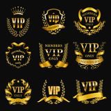 Set of gold vip monograms for graphic design on black background. stock photos
