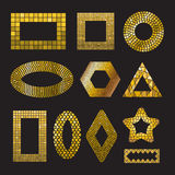Set Golden Mosaic ceramic frames. Set of Golden Mosaic ceramic tile frame design elements in different forms square, circle, triangle, oval, rectangle Royalty Free Stock Photo