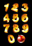 Set of golden numbers. Collection of golden numbers with Christmas toys Royalty Free Stock Photos
