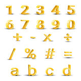 Set of golden numbers Royalty Free Stock Photos